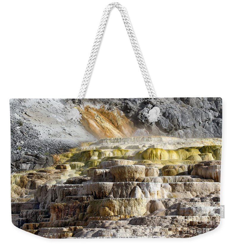 Cleopatra Terrace Weekender Tote Bag featuring the photograph Cleopatra Terrace In Yellowstone National Park by Catherine Sherman