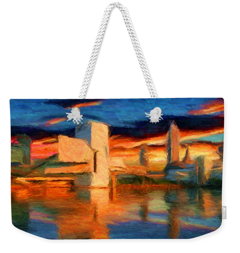 Cleveland Weekender Tote Bag featuring the digital art Cleveland 1 by Caito Junqueira