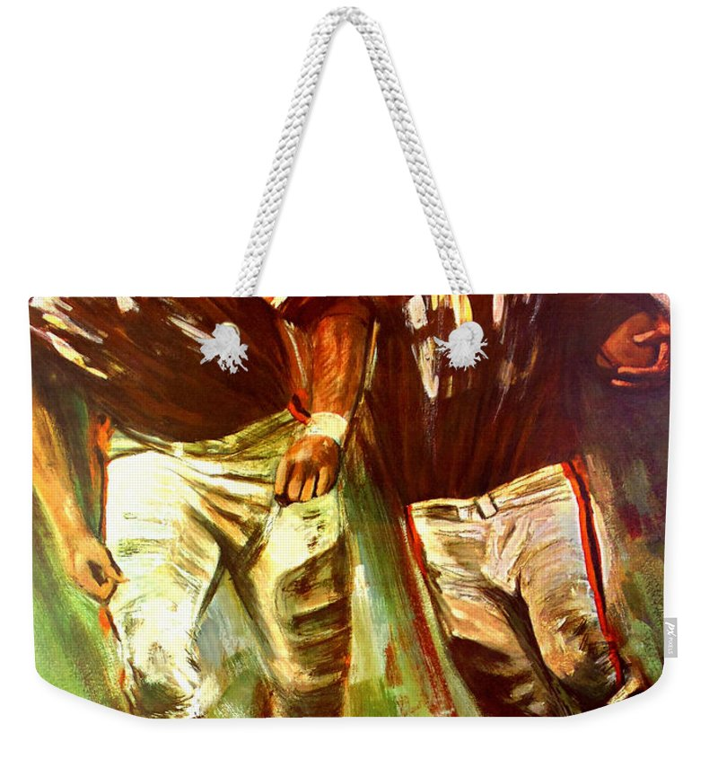 Cleveland Browns Weekender Tote Bag featuring the painting Cleveland Browns 1965 Cb Helmet Poster by John Farr