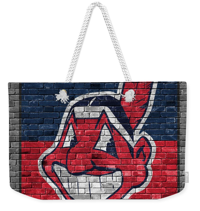 Indians Weekender Tote Bag featuring the painting Cleveland Indians Brick Wall by Joe Hamilton