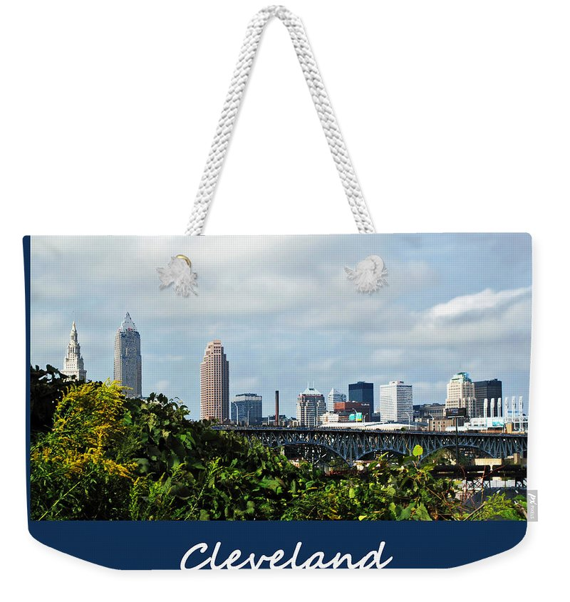 Bridge Weekender Tote Bag featuring the photograph Cleveland Poster by Joan Minchak