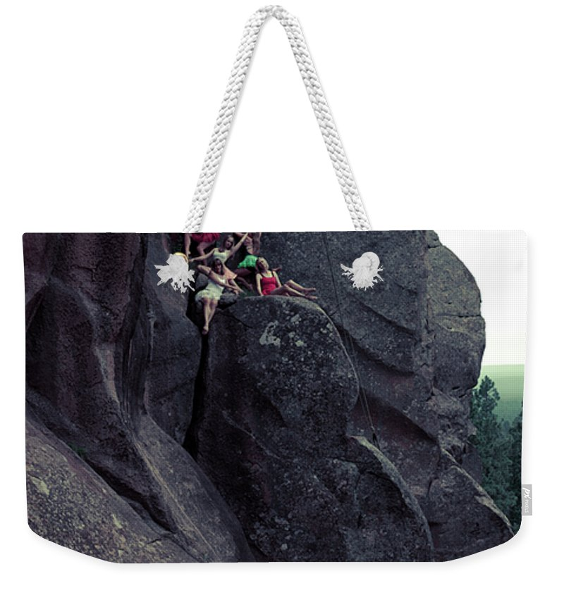Dance Weekender Tote Bag featuring the photograph Cliff Dancers by Scott Sawyer
