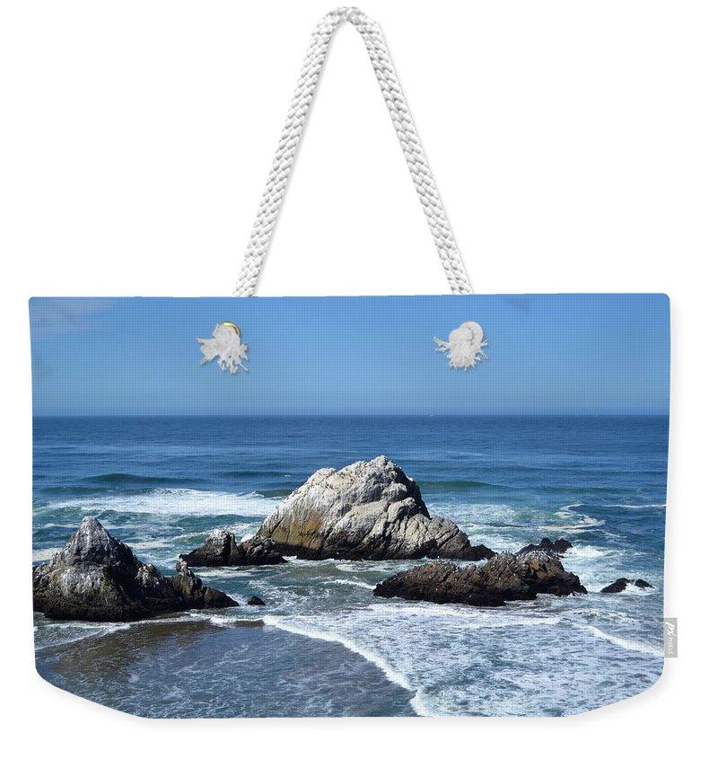 Ocean Weekender Tote Bag featuring the photograph Cliffhouse Rocks by Michael Bergman