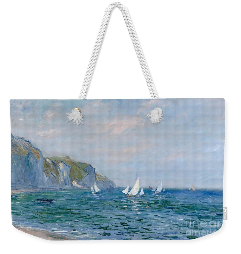 Cliffs And Sailboats At Pourville Weekender Tote Bag featuring the painting Cliffs and Sailboats at Pourville by Claude Monet