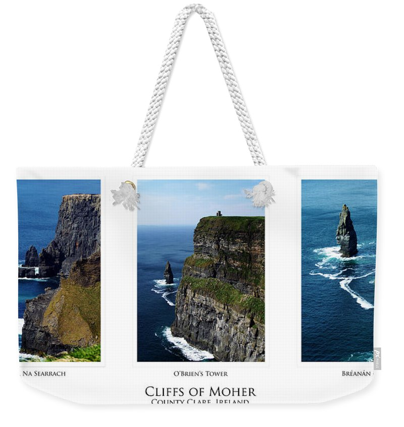 Irish Weekender Tote Bag featuring the photograph Cliffs Of Moher Ireland Triptych by Teresa Mucha