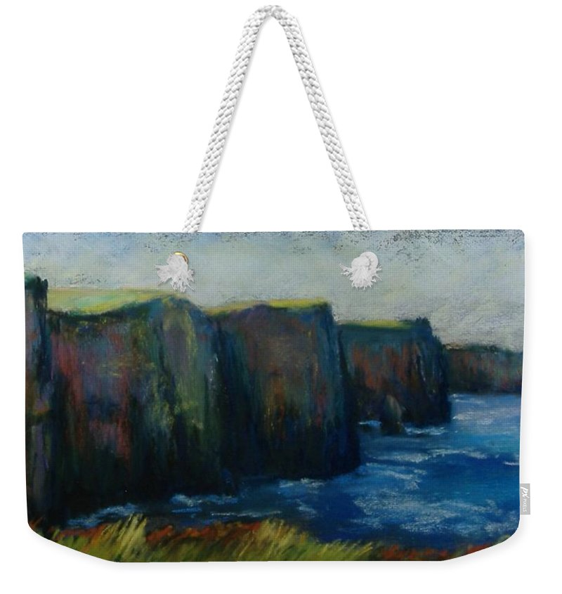 Seascape Weekender Tote Bag featuring the pastel Cliffs Of Moher by Pat Snook