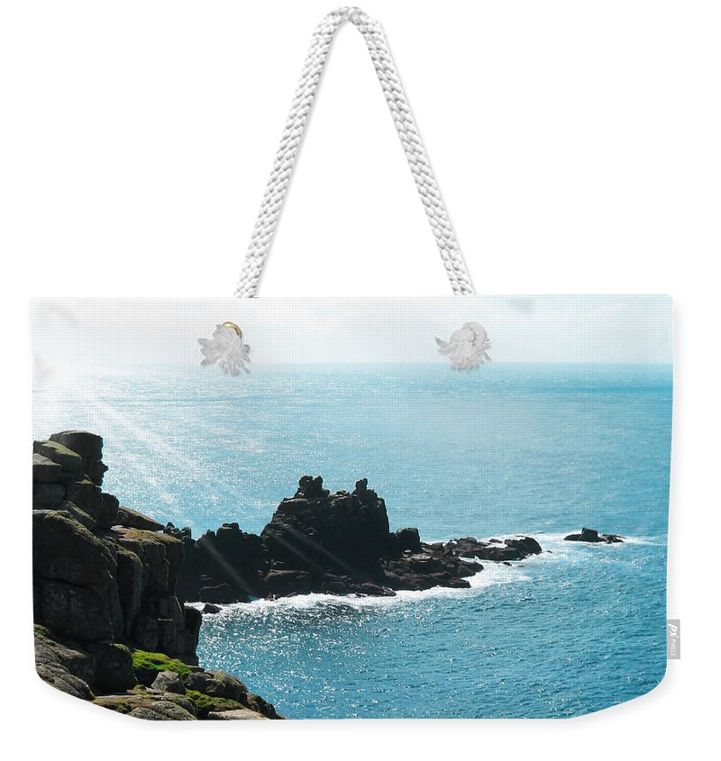 Aqua Weekender Tote Bag featuring the photograph Cliffs by Svetlana Sewell