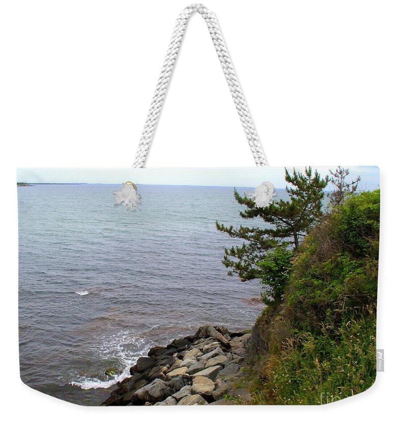 Cliffwalk Weekender Tote Bag featuring the photograph Cliffwalk Newport by Lennie Malvone