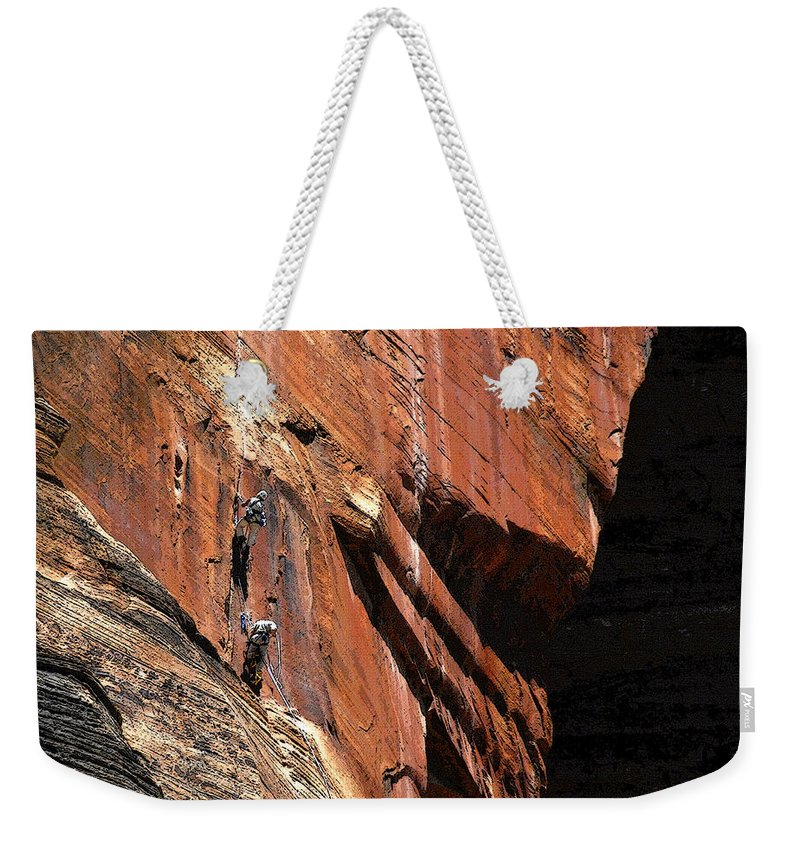 Art Weekender Tote Bag featuring the painting Climbing The Great Arch by David Lee Thompson