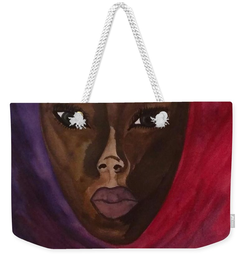 African American Weekender Tote Bag featuring the painting Cloaked Or Mask by LKB Art and Photography