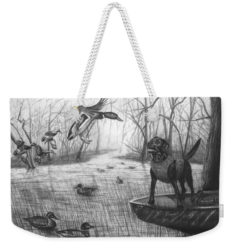 Cloaked Weekender Tote Bag featuring the drawing Cloaked by Peter Piatt