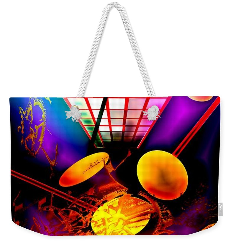 Clock Weekender Tote Bag featuring the digital art Clock-sync by Helmut Rottler