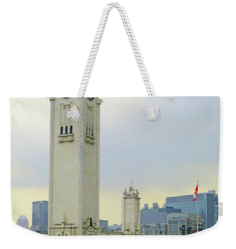 Montreal Weekender Tote Bag featuring the photograph Clock Tower Montreal 1 by Randall Weidner