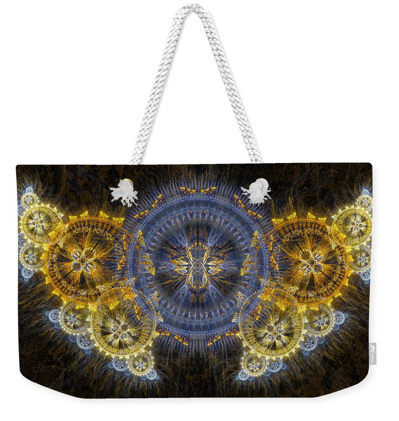 Steampunk Weekender Tote Bag featuring the digital art Clockwork Butterfly by Martin Capek