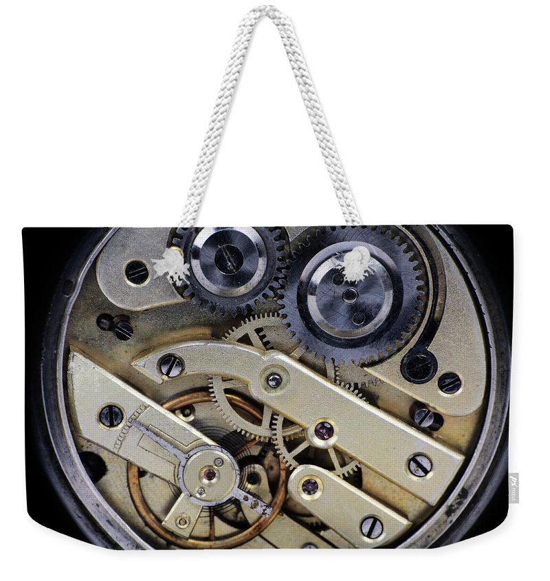 Watch Weekender Tote Bag featuring the photograph Clockwork by Tom Conway