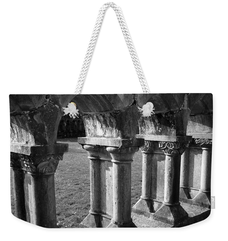 Irish Weekender Tote Bag featuring the photograph Cloister At Cong Abbey Cong Ireland by Teresa Mucha