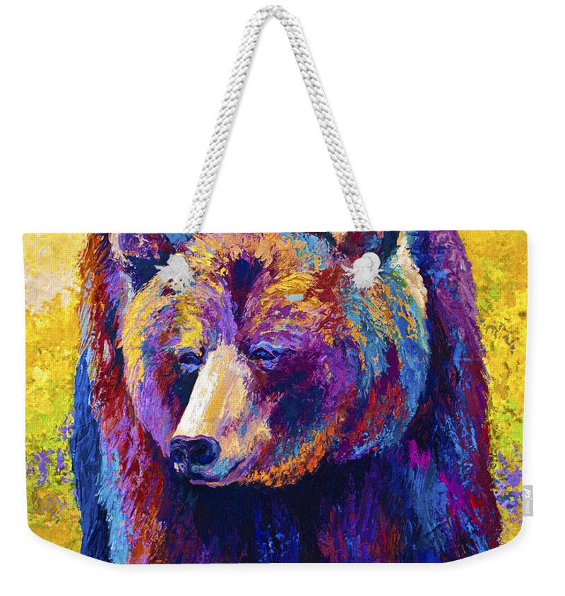 Western Weekender Tote Bag featuring the painting Close Encounter - Grizzly Bear by Marion Rose