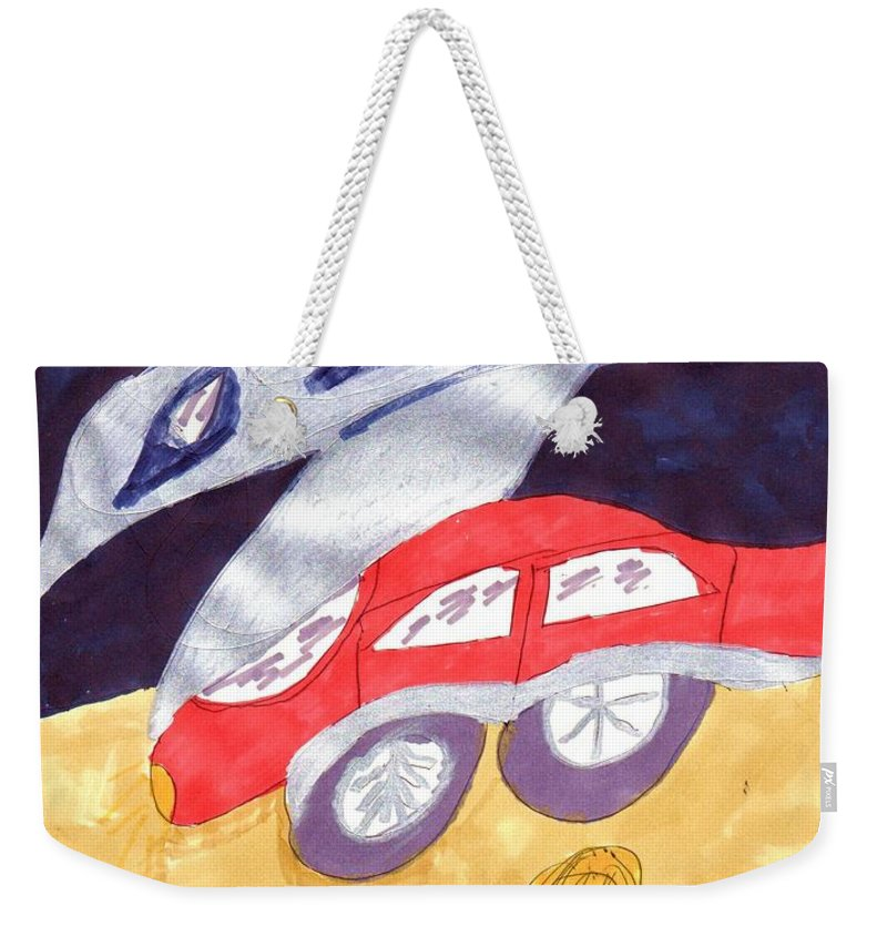 Plane Landing Near A Red Car Weekender Tote Bag featuring the mixed media Close To My New Car by Elinor Helen Rakowski