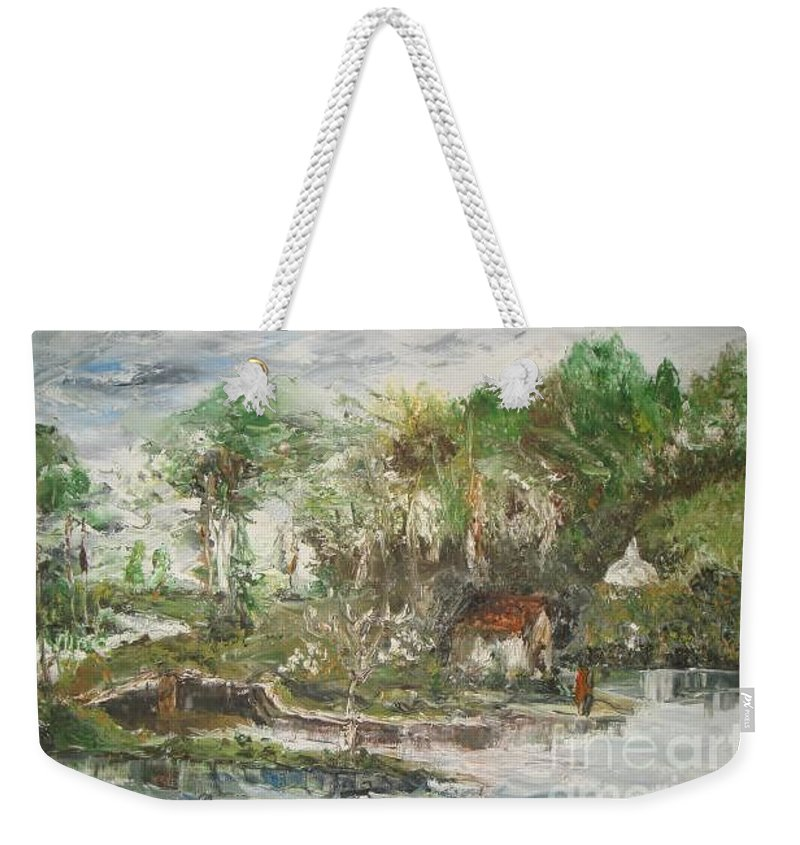 Realistic Weekender Tote Bag featuring the painting Close To The Retreat by Rushan Ruzaick
