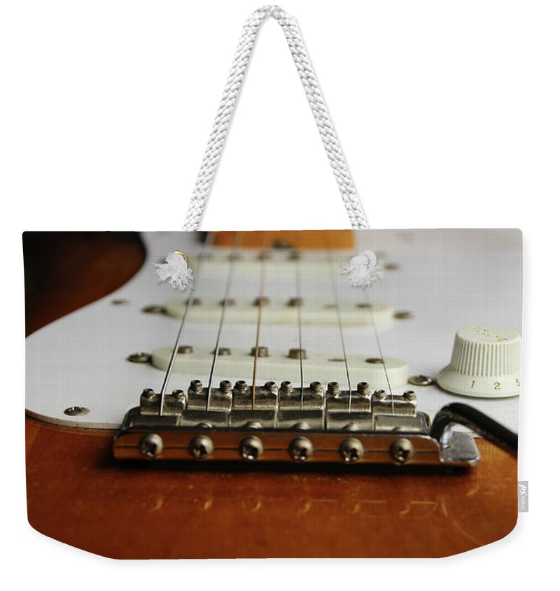 Guitar Weekender Tote Bag featuring the photograph Close Up Electric Guitar by Tom Conway