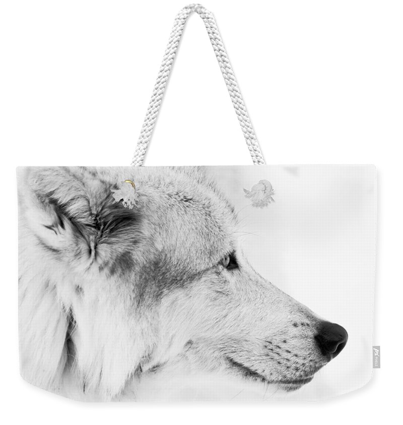 Wolves Weekender Tote Bag featuring the photograph Close Up Encounter by Athena Mckinzie