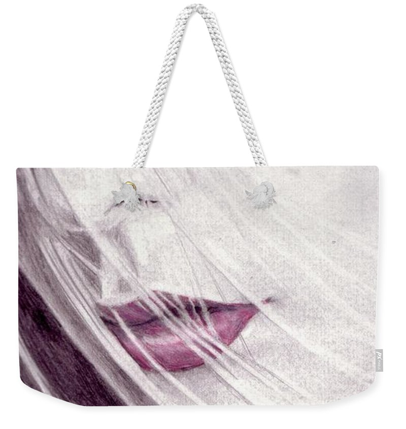 Lips Weekender Tote Bag featuring the drawing Close Up by Kristopher VonKaufman