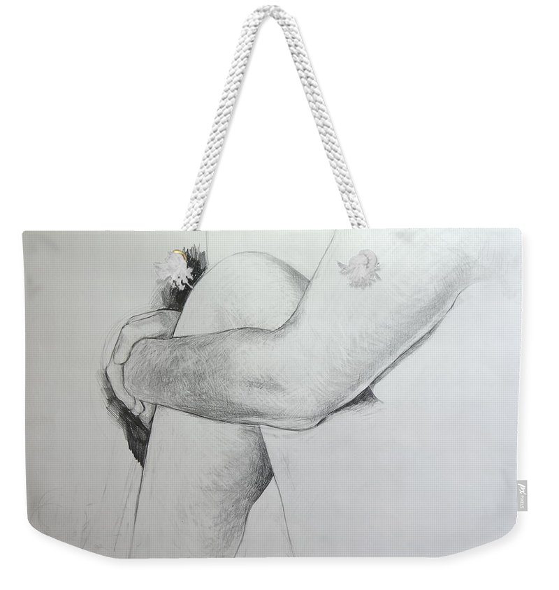 Llife Weekender Tote Bag featuring the drawing Close Up Of Life Figure. by Harry Robertson