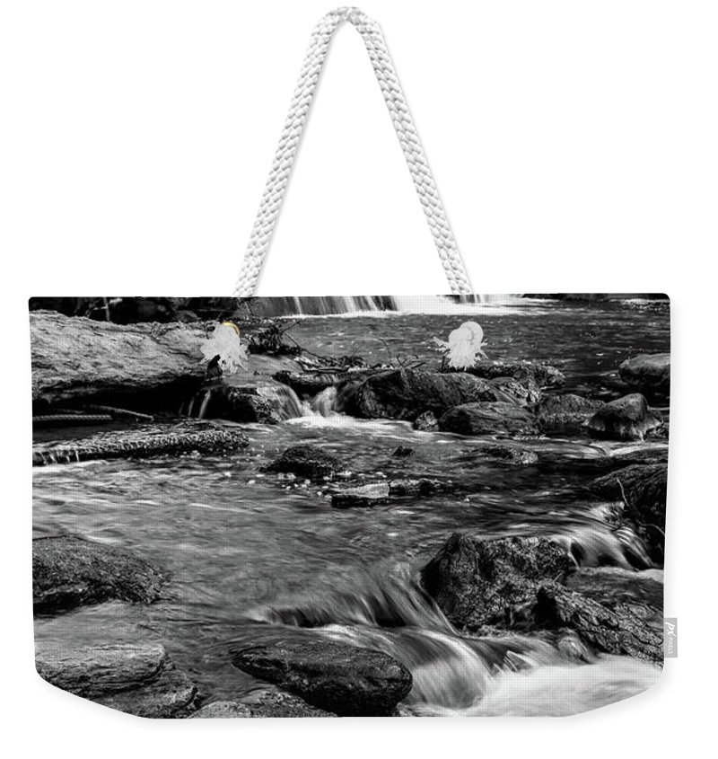 Falls Park On The Reedy River Weekender Tote Bag featuring the photograph Close Up Of Reedy Falls In South Carolina B W by Carol Montoya