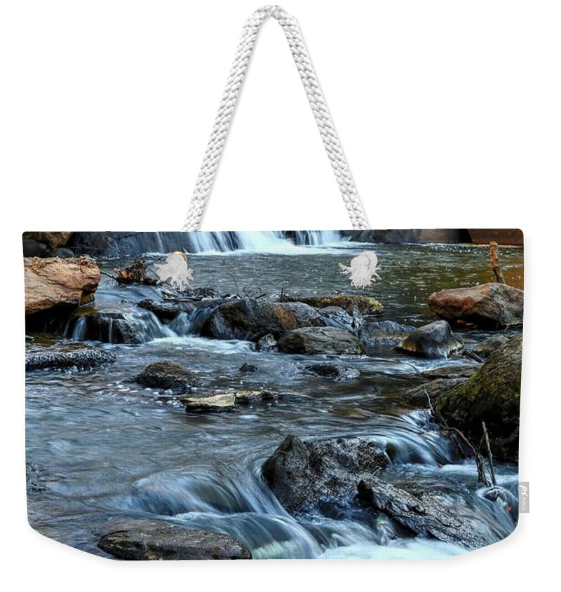 Falls Park On The Reedy River Ii Weekender Tote Bag featuring the photograph Close Up Of Reedy Falls In South Carolina II by Carol Montoya