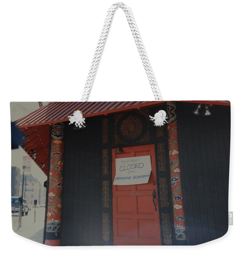 Art Weekender Tote Bag featuring the photograph Closed For Earthquake by Rob Hans