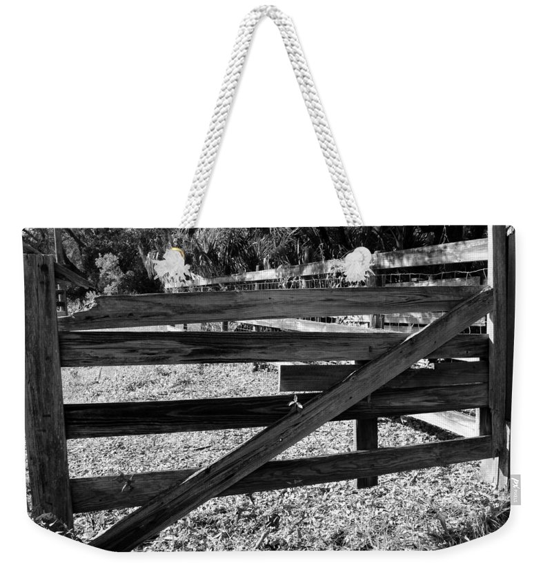 Photo For Sale Weekender Tote Bag featuring the photograph Closed Gate by Robert Wilder Jr