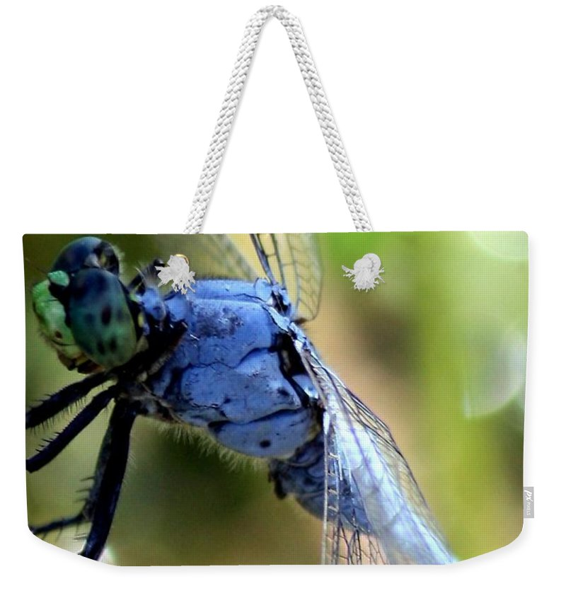 Ponds Weekender Tote Bag featuring the photograph Closeup Of Blue Dragonfly by Carol Groenen
