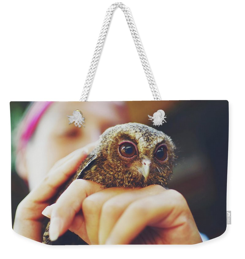 Adorable Weekender Tote Bag featuring the photograph Closeup Portrait Of A Girl Holding And Tending A Small Baby Owl In Her Hands by Srdjan Kirtic