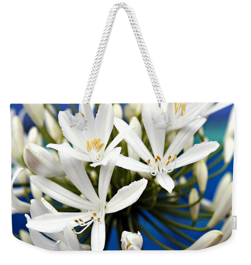 Closeup Weekender Tote Bag featuring the photograph Closeup White Californian Flower by Marilyn Hunt