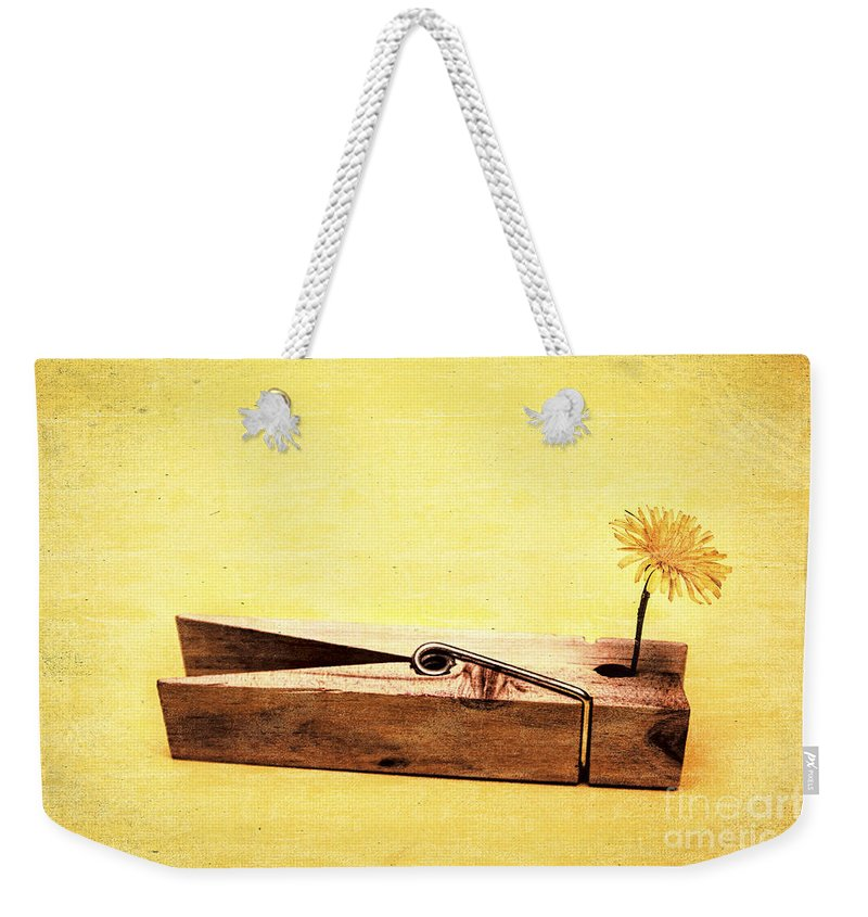 Vintage Weekender Tote Bag featuring the photograph Clothespins And Dandelions by Jorgo Photography - Wall Art Gallery