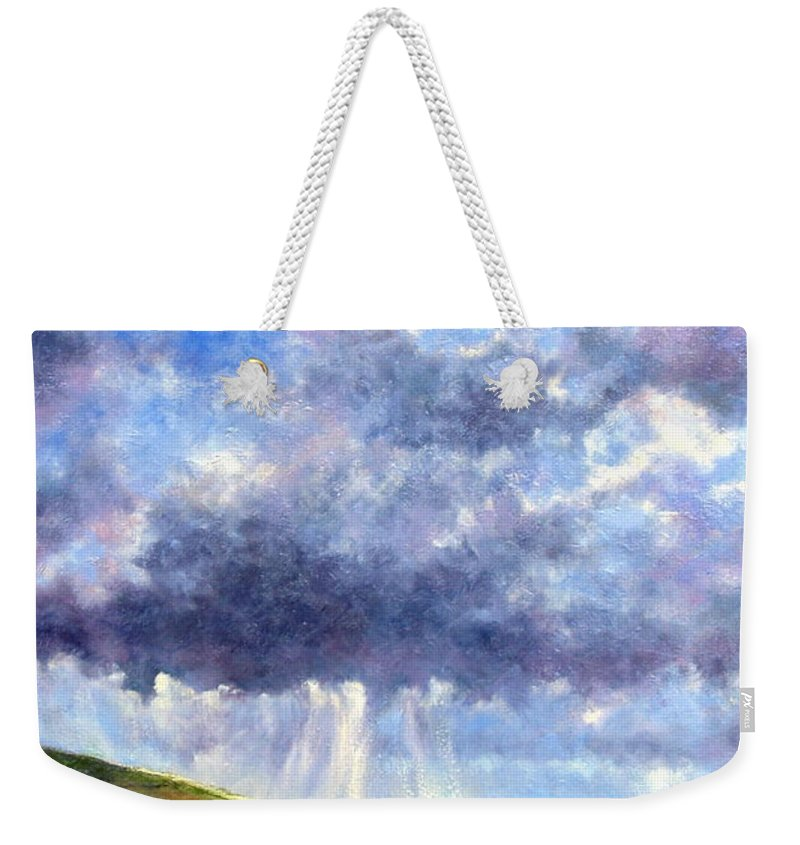 Oil Painting Weekender Tote Bag featuring the painting Cloud Burst Ireland by Jim Gola