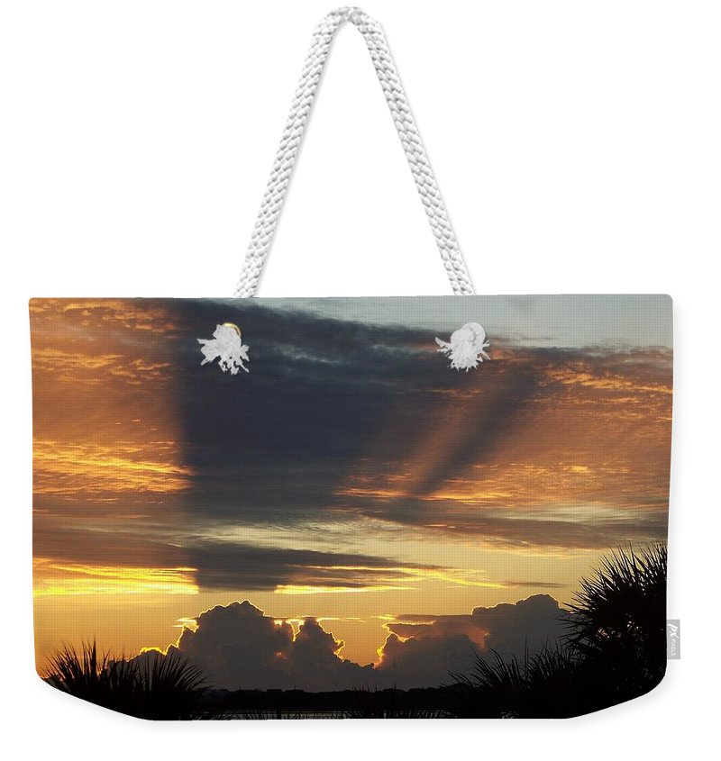 Sunsets Weekender Tote Bag featuring the photograph Cloud Cast Glory by Karen Wiles