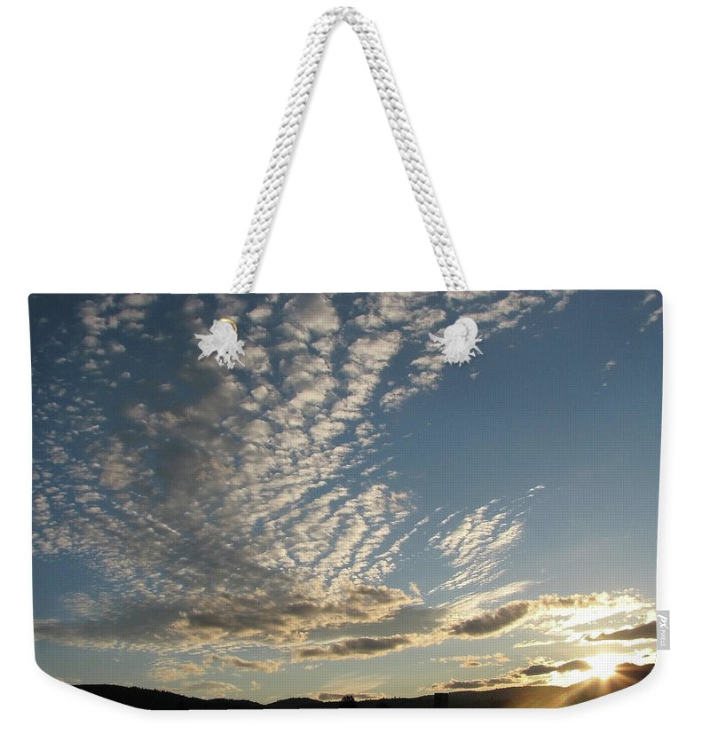 Blue Weekender Tote Bag featuring the photograph Cloud Dancing by Teri Schuster