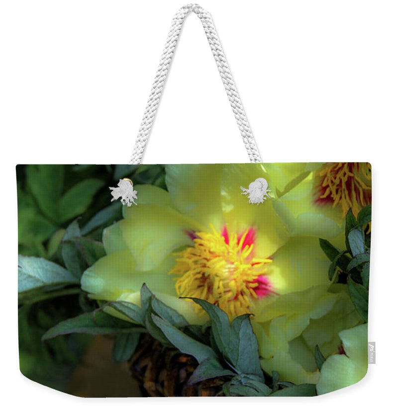 Still-life Weekender Tote Bag featuring the photograph Cloud Flowers by Donna Fonseca Newton