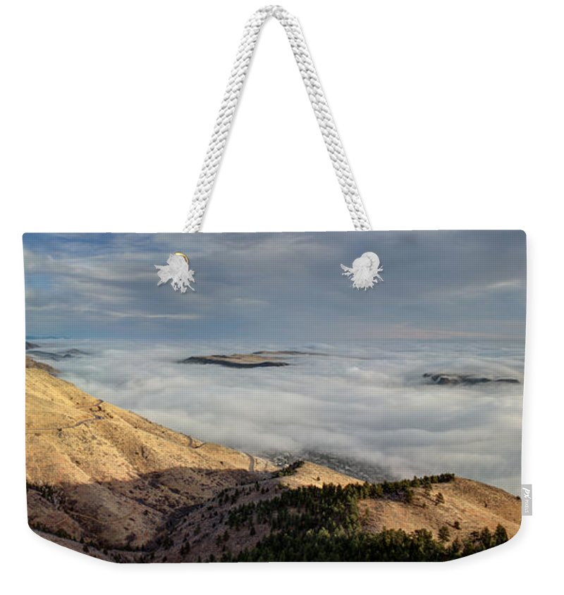 Dawn Weekender Tote Bag featuring the photograph Cloud Ocean by Andrew Terrill