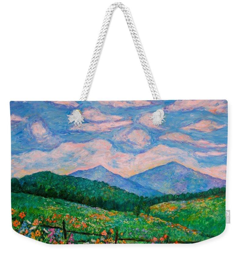 Kendall Kessler Weekender Tote Bag featuring the painting Cloud Swirl over The Peaks of Otter by Kendall Kessler