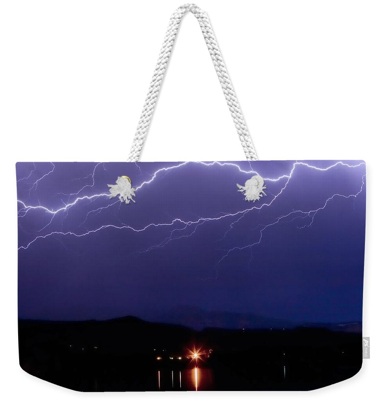 Lightning Weekender Tote Bag featuring the photograph Cloud To Cloud Horizontal Lightning by James BO Insogna