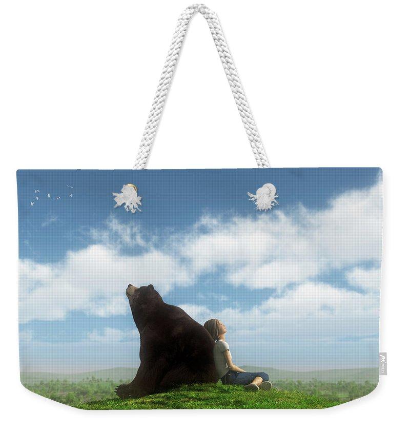 Bear Weekender Tote Bag featuring the digital art Cloud Watchers by Cynthia Decker