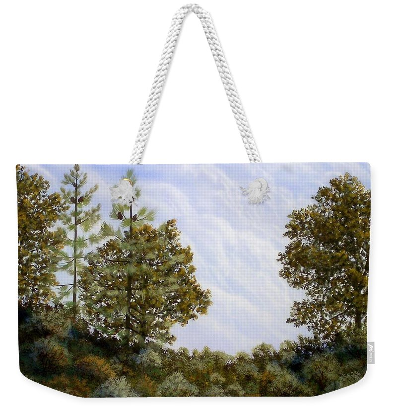 Landscape Weekender Tote Bag featuring the painting Clouds In Foothills by Frank Wilson