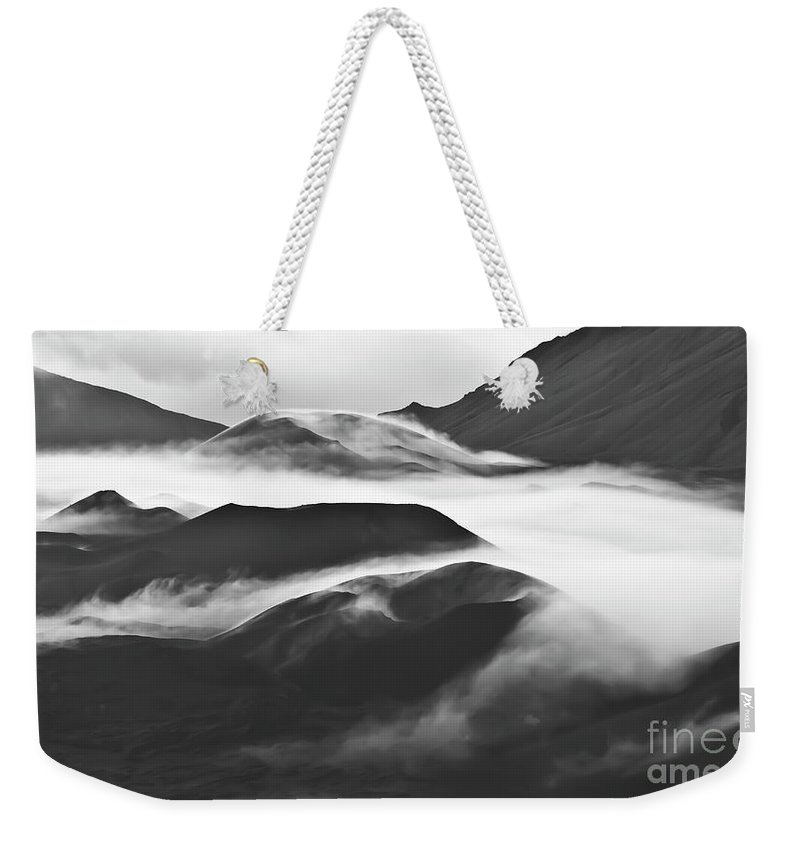 Mountains Weekender Tote Bag featuring the photograph Maui Hawaii Haleakala National Park Clouds In Haleakala Crater by Jim Cazel