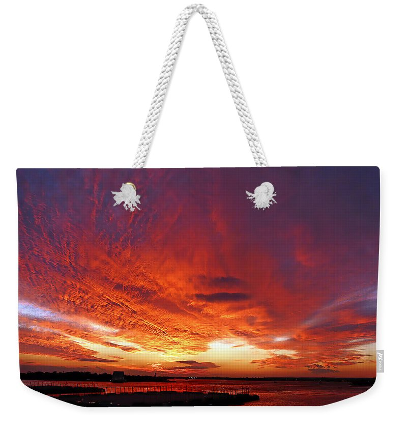 Clouds Weekender Tote Bag featuring the photograph Clouds On Fire by Kendall Eutemey