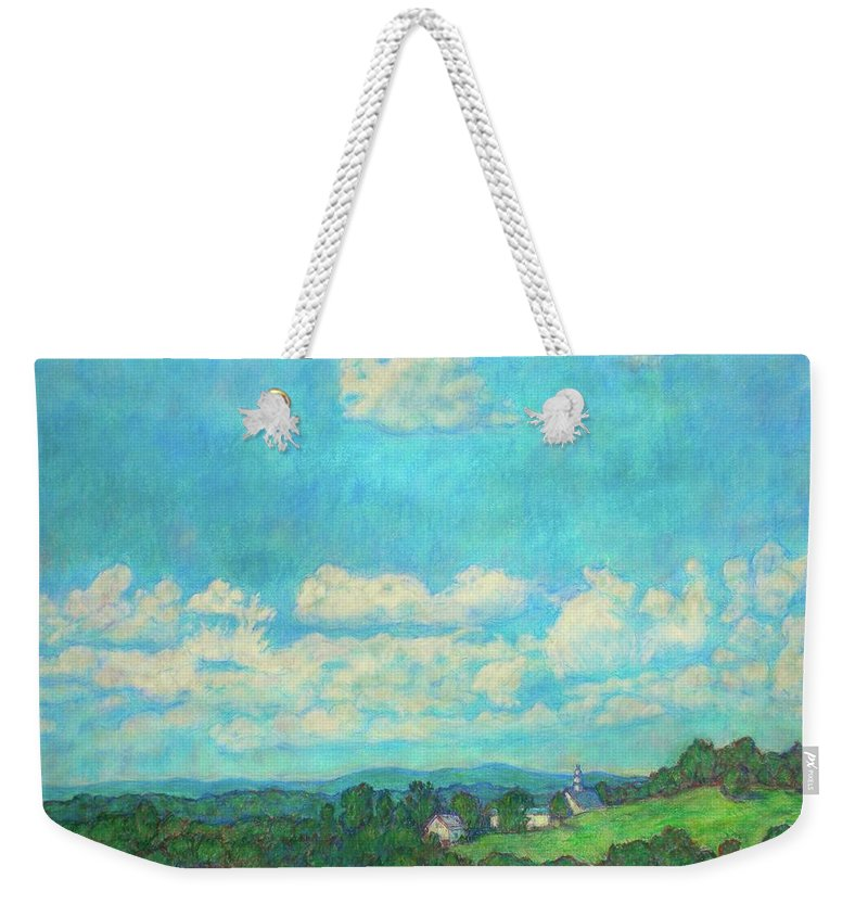 Landscape Weekender Tote Bag featuring the painting Clouds Over Fairlawn by Kendall Kessler