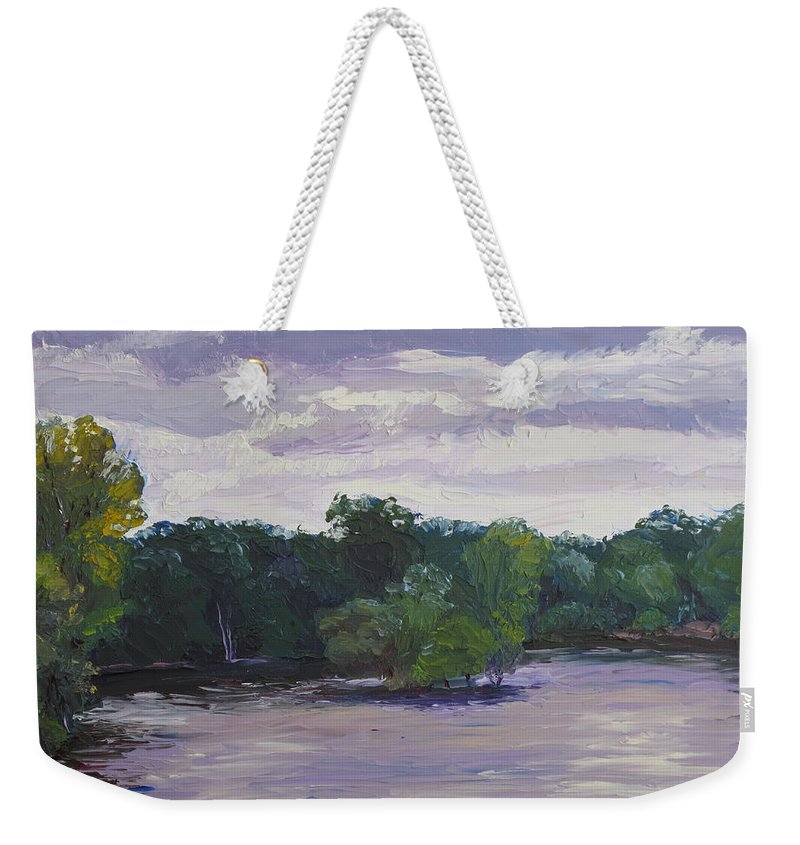 Landscape Weekender Tote Bag featuring the painting Clouds Over The Lake by Lea Novak