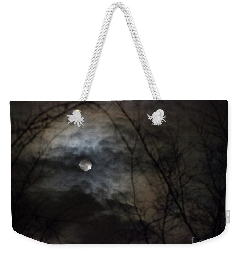 Full Moon Weekender Tote Bag featuring the photograph Clouds Over The Moon by Rebecca Pavelka