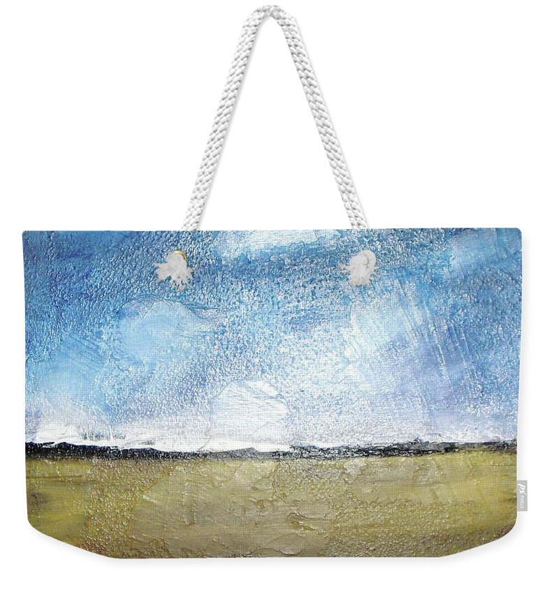 Clouds Weekender Tote Bag featuring the painting Flying Clouds by Vesna Antic